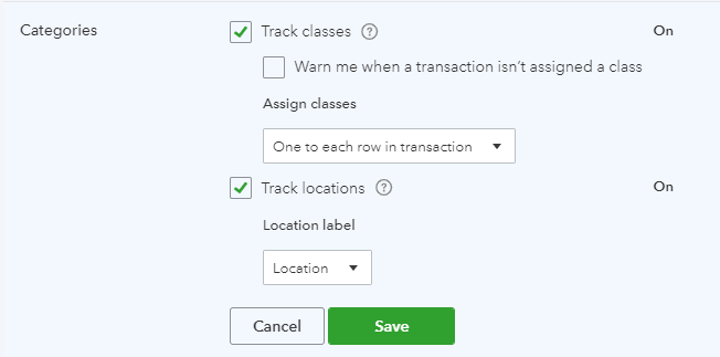 Turn on Class and Location Tracking