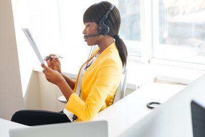 Businesswoman working in call center