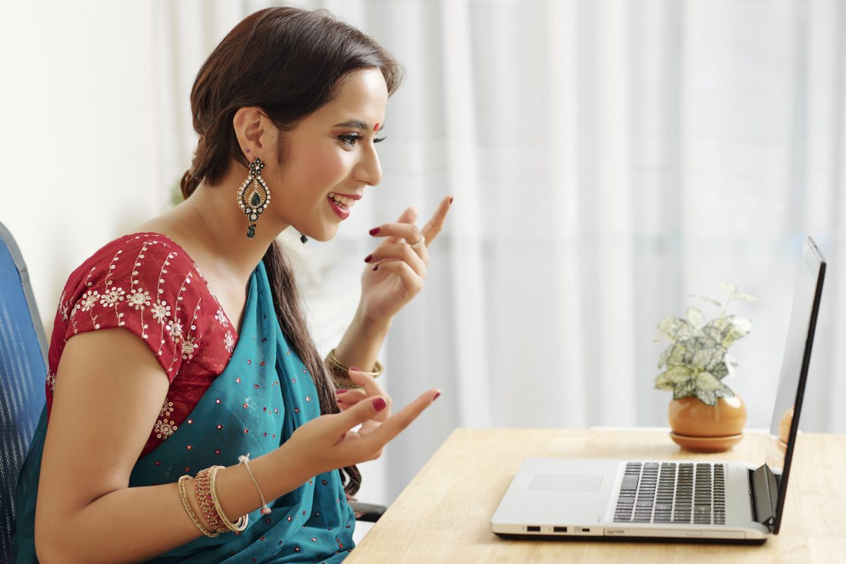 Video calling Indian woman